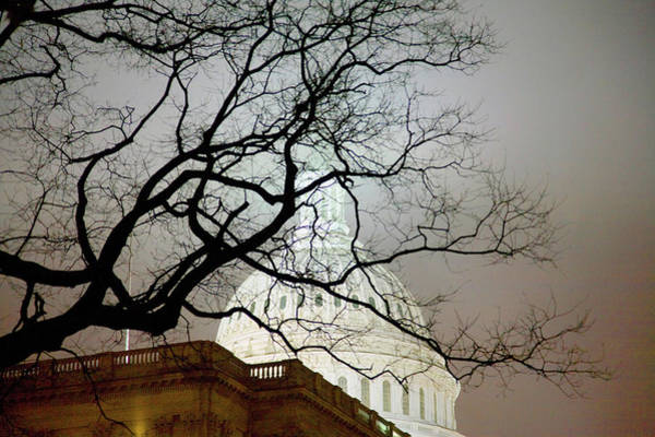 Senate Photograph - Us Capitol At Night In Fog, Washington by Panoramic Images