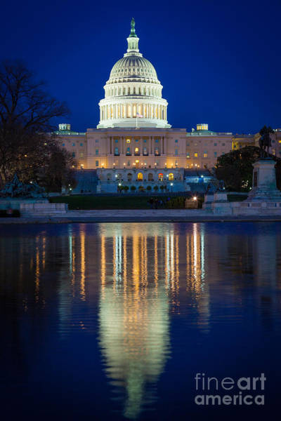 Capitol Photograph - Us Capitol Reflections by Inge Johnsson