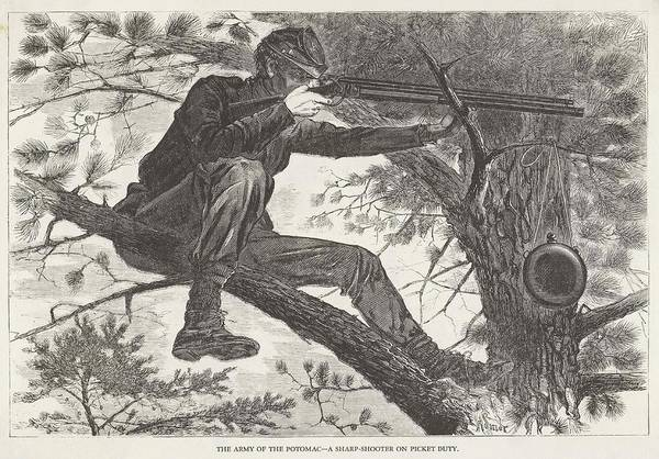 Sharpshooter Wall Art - Drawing - Us Civil War Sharpshooter, Poised by Mary Evans Picture Library