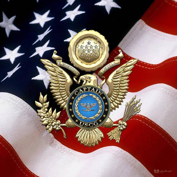 Digital Art - Us Coast Guard Captain - Capt Rank Insignia Over Gold Eagle And Flag by Serge Averbukh