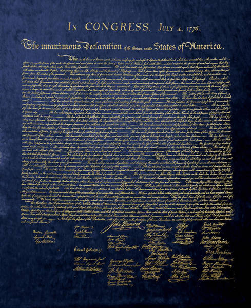 Digital Art - U.s. Declaration Of Independence In Gold On Blue Velvet by Serge Averbukh