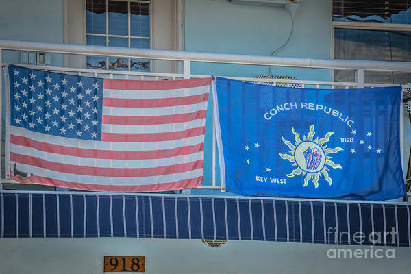 Conch Photograph - Us Flag And Conch Republic Flag Key West - Hdr Style by Ian Monk