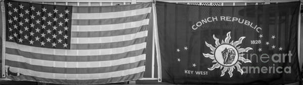 Excess Photograph - Us Flag And Conch Republic Flag Key West  - Panoramic - Black And White by Ian Monk