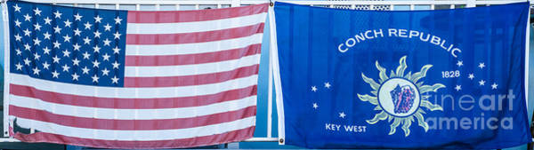 Conch Photograph - Us Flag And Conch Republic Flag Key West  - Panoramic by Ian Monk