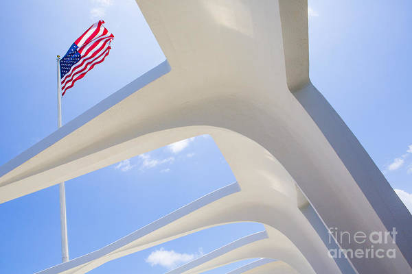 Uss Arizona Wall Art - Photograph - U.s.  Flag At The Uss Arizona Memorial by Diane Diederich