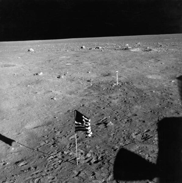 Wall Art - Photograph - Us Flag On The Moon by Underwood Archives