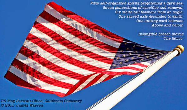 U S Flag Portrait At Chico Cemetery Art Print