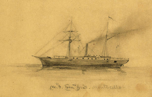 Wall Art - Drawing - U.s. Gun Boat Montecello, Between 1860 And 1865 by Quint Lox