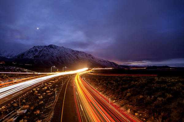 California Adventure Photograph - U.s. Hwy. 395 Light Trails by Cat Connor