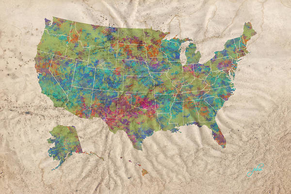 Digital Art - Us Map - Crumpled Paper And Watercolor by Paulette B Wright