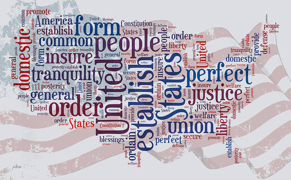 Digital Art - Us Map Preamble Word Cloud by Paulette B Wright
