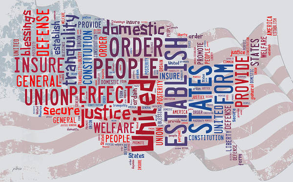Digital Art - Us Map Preamble Word Cloud2 by Paulette B Wright