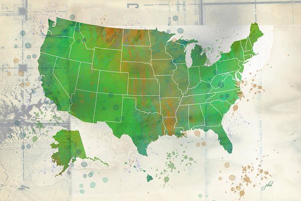 Digital Art - Us Map Watercolor 8 by Paulette B Wright
