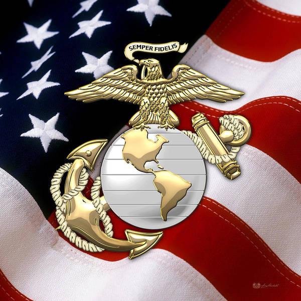 U. S. Marine Corps - U S M C Eagle Globe And Anchor Over American Flag. Art Print