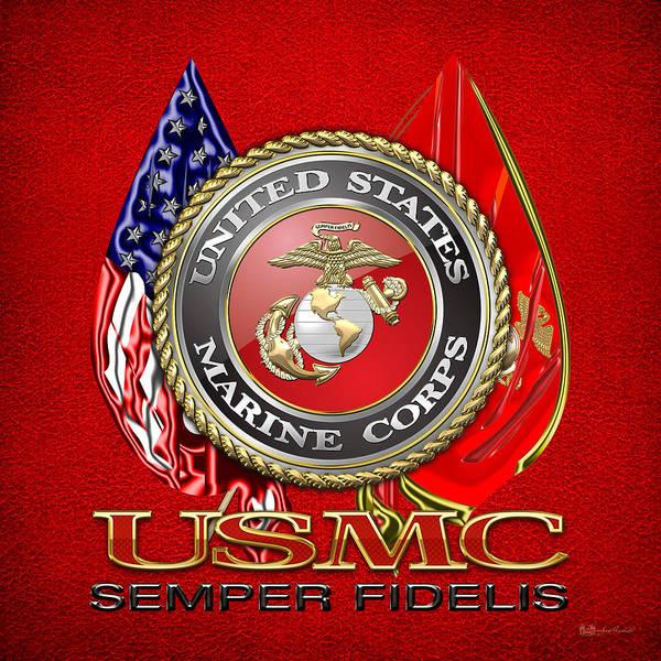 U. S. Marine Corps U S M C Emblem On Red Art Print