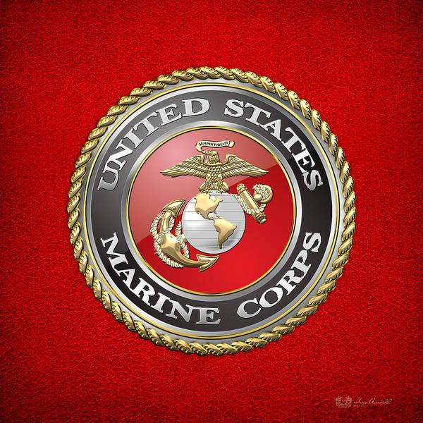 Digital Art - U. S. Marine Corps - U S M C Emblem by Serge Averbukh