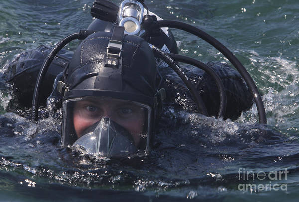 Above And Below Wall Art - Photograph - U.s. Marine With Black Sea Rotational by Stocktrek Images