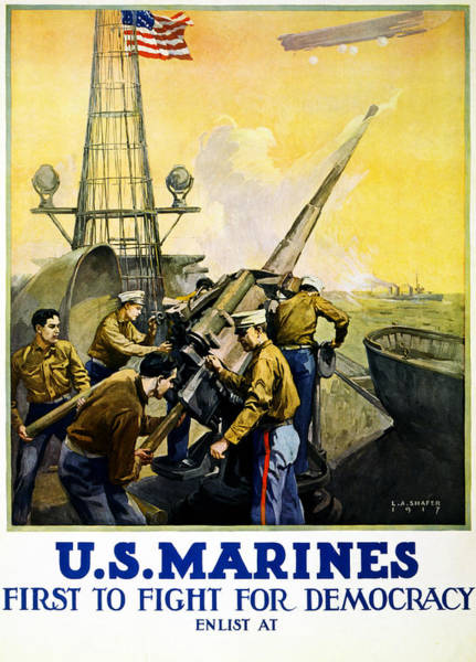 1910s Wall Art - Painting - Us Marines by Leon Alaric Shafer