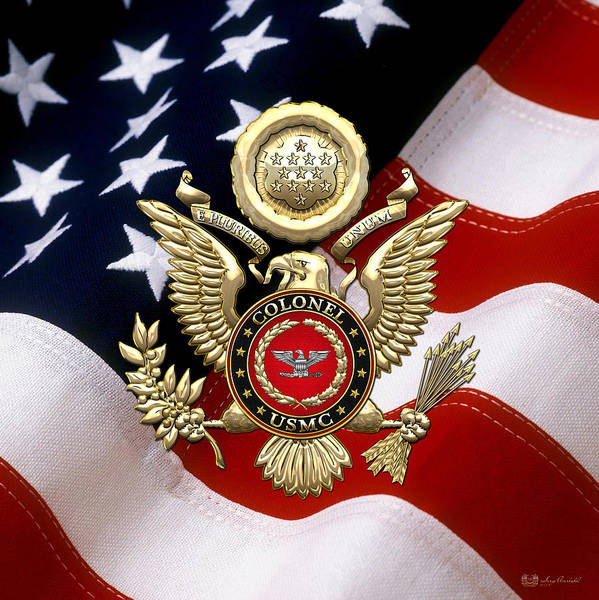 Digital Art - U.s. Marines - Usmc Colonel Rank Insignia Over Gold Eagle And Flag by Serge Averbukh