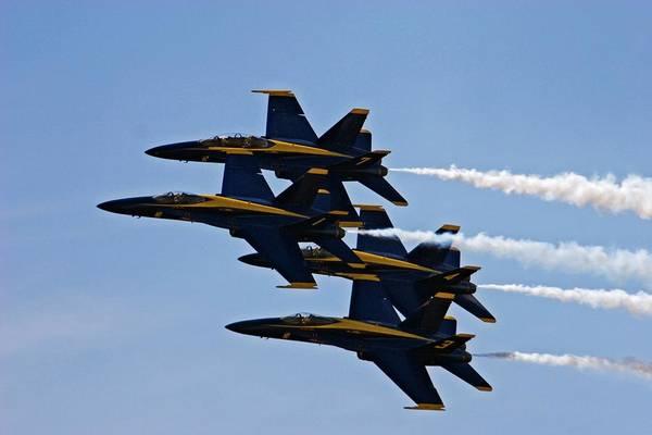 National Guard Photograph - Us Navy Blue Angels Aerobatics Display by Jim West