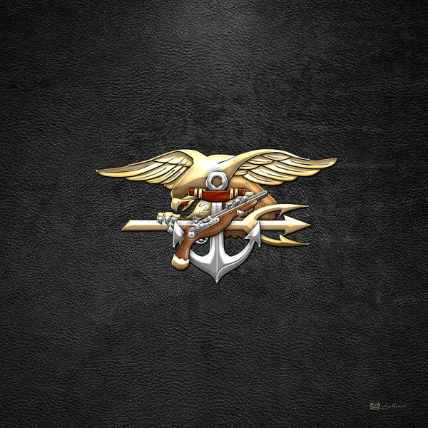 Digital Art - U. S. Navy S E A Ls Emblem On Black by Serge Averbukh