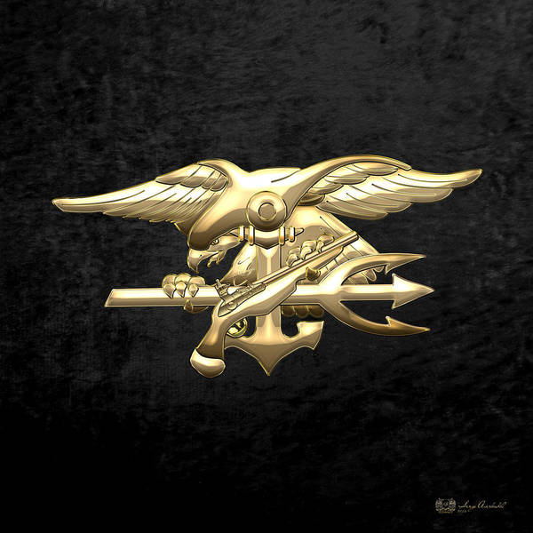 Digital Art - U. S. Navy S E A Ls Emblem On Black Velvet by Serge Averbukh