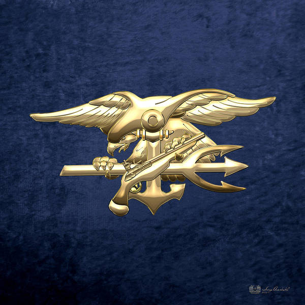 Digital Art - U. S. Navy S E A Ls Emblem On Blue Velvet by Serge Averbukh