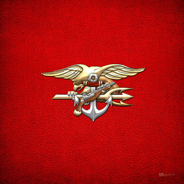 Digital Art - U. S. Navy S E A Ls Emblem On Red  by Serge Averbukh