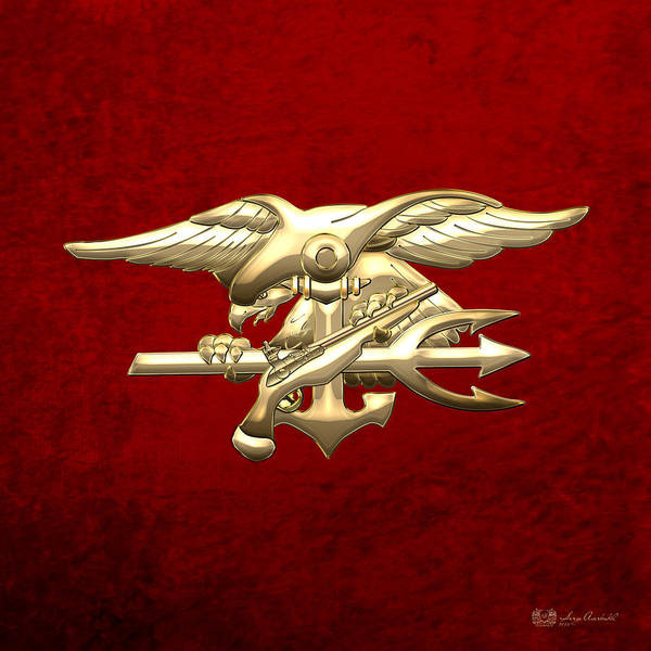 Digital Art - U. S. Navy S E A Ls Emblem On Red Velvet by Serge Averbukh