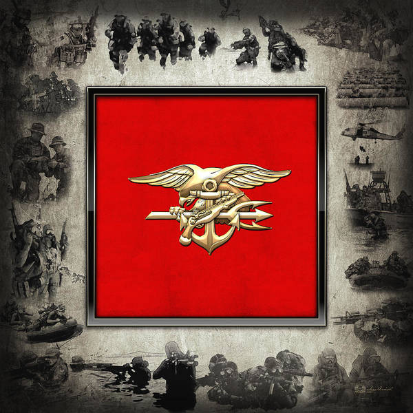 Digital Art - U. S. Navy S E A Ls Trident Emblem Over Navy Seals Collage by Serge Averbukh