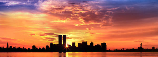 Liberty Bridge Photograph - Us, New York City, Skyline, Sunrise by Panoramic Images