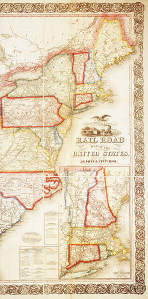 Wall Art - Painting - Us Railroad Map, 1859 by Granger