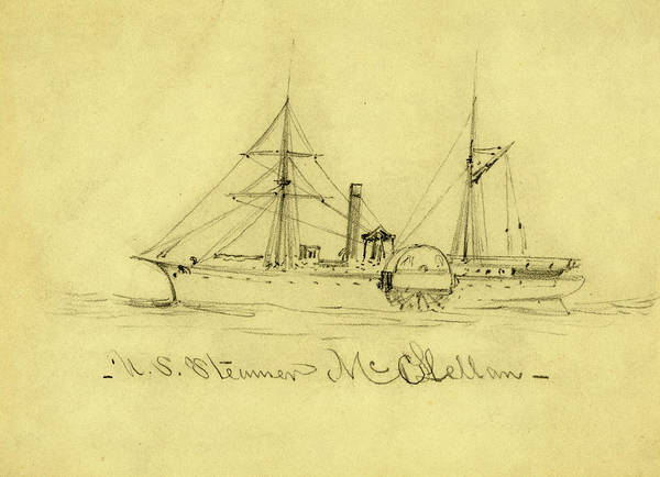 Wall Art - Drawing - U.s. Steamer Mcclellan, Between 1860 And 1865 by Quint Lox