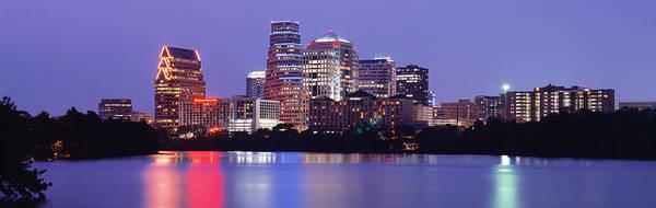 Nightime Photograph - Us, Texas, Austin, Skyline, Night by Panoramic Images