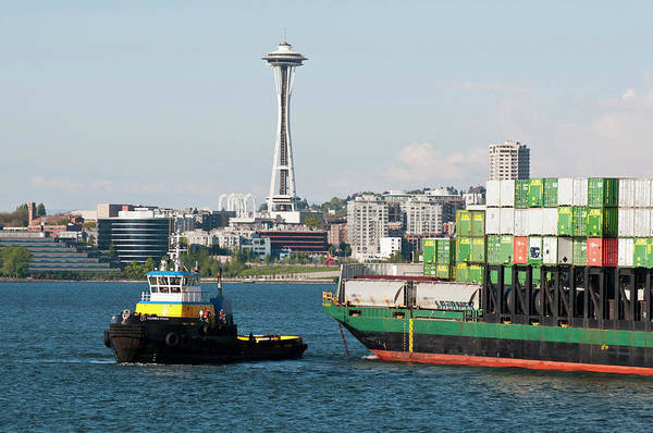 Commerce Photograph - Us, Wa, Seattle, Puget Sound, King by Trish Drury