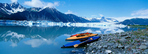 Primary Colors Photograph - Usa, Alaska, Kayaks By The Side by Panoramic Images