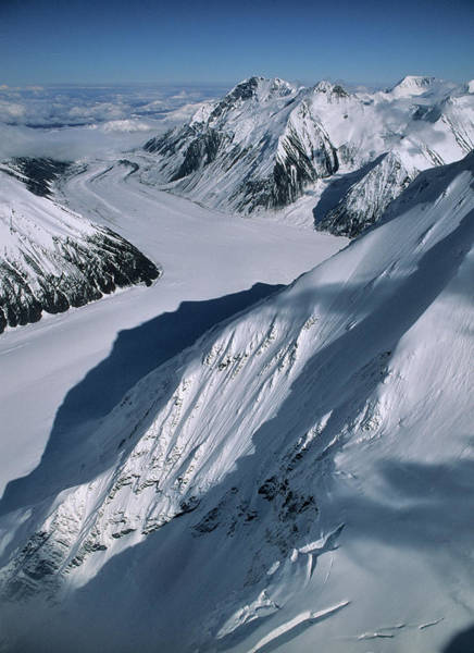 Crevasses Photograph - Usa, Alaska, Peters Glacier, Aerial by Gerry Reynolds