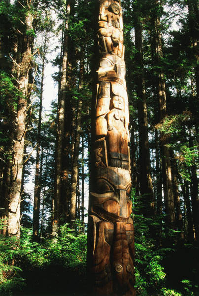 Wood Carving Photograph - Usa, Alaska, Suka, Totem Pole by Howie Garber