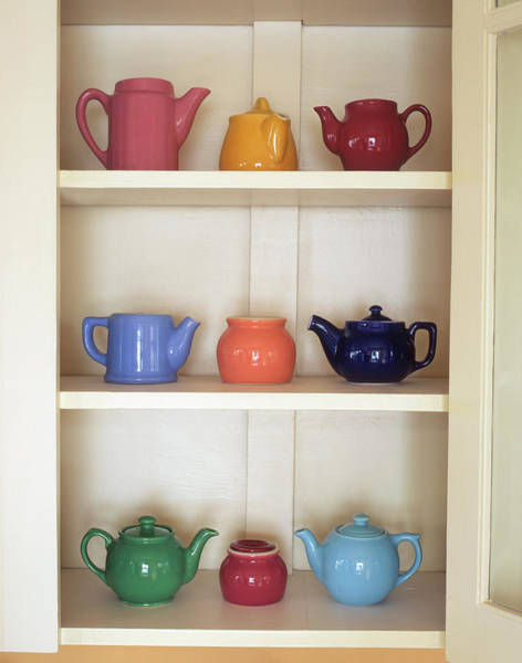 Cabinet Photograph - Usa, Antique Ceramic Teapots & Sugar by Jaynes Gallery