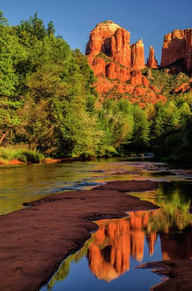 Green Jay Photograph - Usa, Arizona Cathedral Rock Reflects by Jaynes Gallery