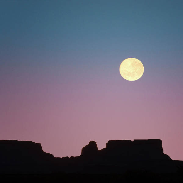 Wall Art - Photograph - Usa, Arizona Moonrise Over Butte Credit by Jaynes Gallery