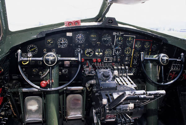 B-17 Bomber Photograph - Usa, B-17 Bomber Aircraft, Cockpit by Gerry Reynolds