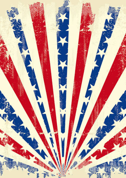 Flag Digital Art - Usa Brushed Sunbeams. A Vintage by Christophe Boisson