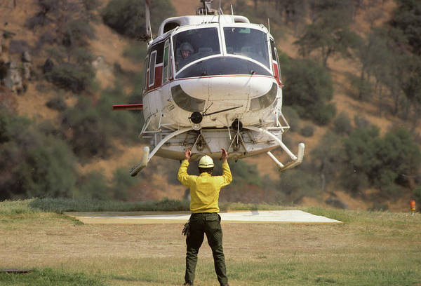 Copter Photograph - Usa, California, Fire Helicopter by Gerry Reynolds