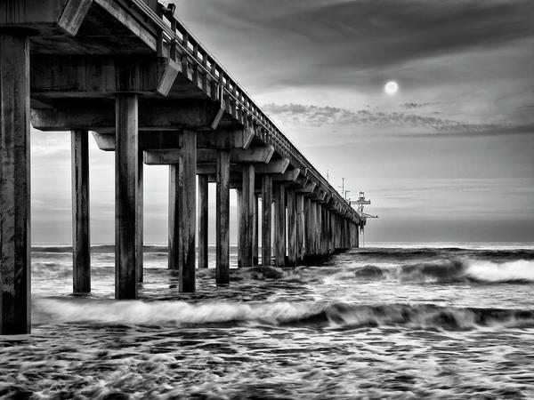 Collins Photograph - Usa, California, La Jolla, Full Moon by Ann Collins
