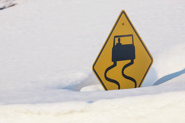 Continental Divide Photograph - Usa, Colorado A Slippery When Wet Sign by Jaynes Gallery