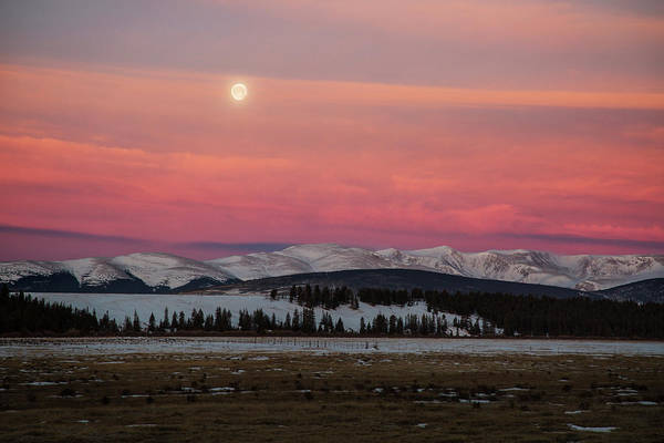 Alpenglow Photograph - Usa, Colorado Setting Full Moon by Jaynes Gallery
