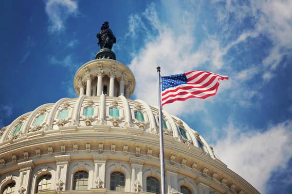 Usa Flag Photograph - Usa, Columbia, Washington Dc, Capitol by Tetra Images - Henryk Sadura