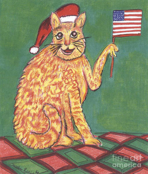 Painting - Usa Flag Cat by Marlene Robbins