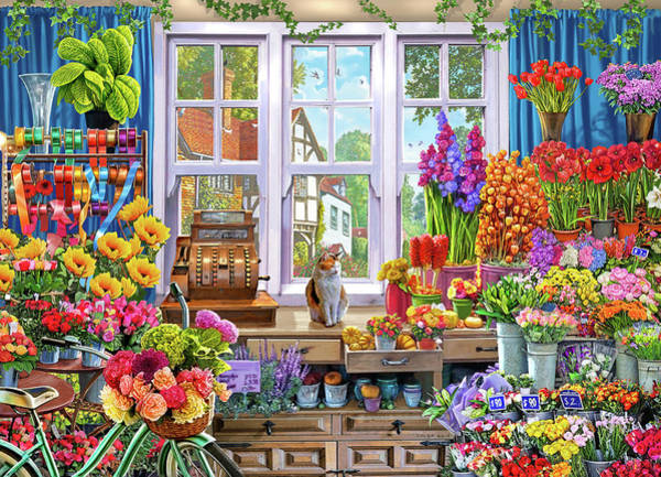 Wall Art - Painting - Usa Flower Shoppe by MGL Meiklejohn Graphics Licensing